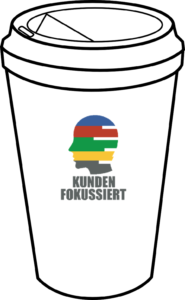 Take Away Becher mit Kundenfokussiert Logo